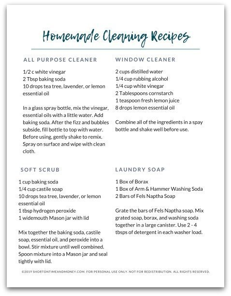 Homemade Cleaning Recipes | Free Printable CheatSheet @ ShortOnTimeAndMoney.com