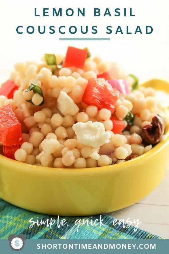 Simple, Quick and Easy | Lemon Basil Couscous Salad Recipe @ ShortOnTimeAndMoney.com