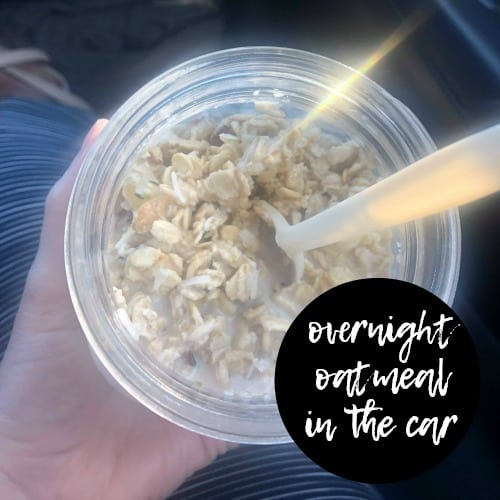 Eating Overnight Oatmeal in the car and on the go. Such a simple make ahead meal! @ ShortOnTimeAndMoney.com