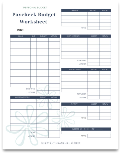 Paycheck Budget Worksheet @ Short on Time and Money