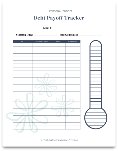Free Printable Debt Payoff Tracker @ Short on Time and Money